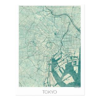 Tokyo Map Blue Vintage Watercolor Postcard