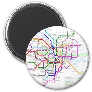 Tokyo Metro Map 6 Cm Round Magnet