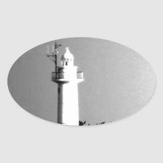 tokyo modern art sea fire tower light tower photo oval sticker
