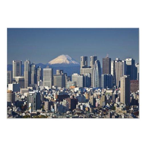 Tokyo, Shinjuku District Skyline, Mount Fuji, Photo Art