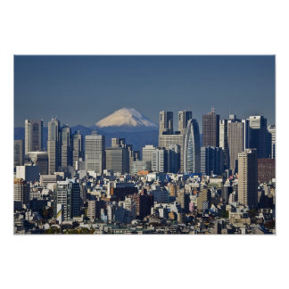 Tokyo Shinjuku District Skyline Mount Fuji Posters