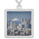 Tokyo, Shinjuku District Skyline, Mount Fuji, Square Pendant Necklace