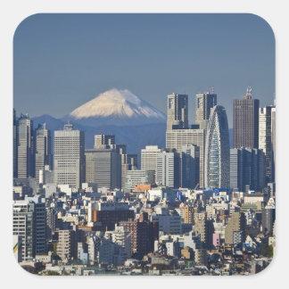 Tokyo, Shinjuku District Skyline, Mount Fuji, Square Sticker