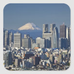 Tokyo, Shinjuku District Skyline, Mount Fuji, Square Stickers
