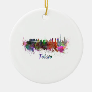 Tokyo skyline in watercolor christmas ornament