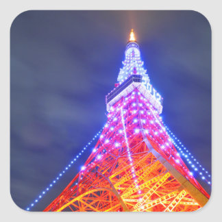 Tokyo Tower at night Square Sticker