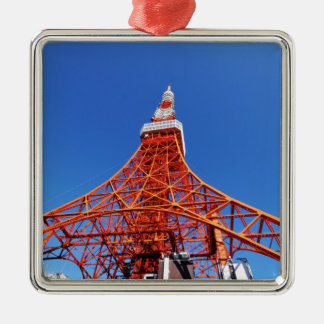 Tokyo Tower Silver-Colored Square Decoration