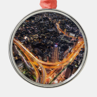 Tokyo Traffic Silver-Colored Round Decoration
