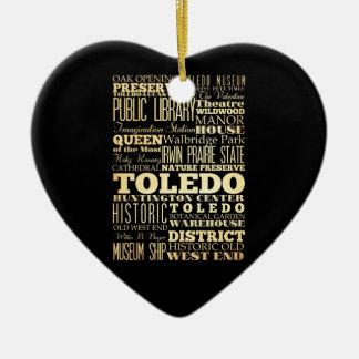 Toledo City of Ohio State Typography Art Christmas Ornament