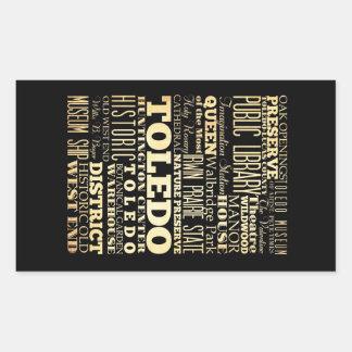 Toledo City of Ohio State Typography Art Rectangular Sticker