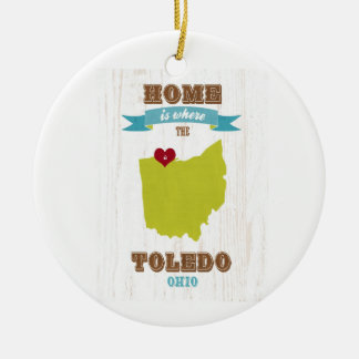 Toledo, Ohio Map – Home Is Where The Heart Is Christmas Ornament