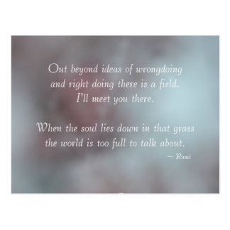 Tolerance Rumi Quote Post Card
