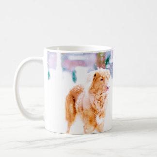 Toller retriever in the snow coffee mug