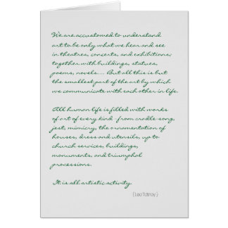 Tolstoy all life is art quote greeting cards