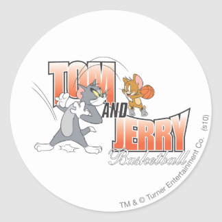 Tom and Jerry Basketball 3 Round Sticker