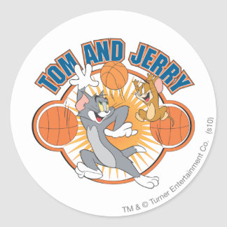 Tom and Jerry Basketball 4 Round Sticker