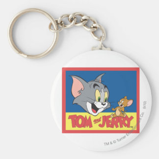 Tom And Jerry Logo Flat Basic Round Button Key Ring