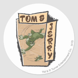 Tom and Jerry On A Tan Couch Round Sticker