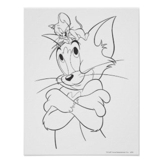 Tom and Jerry On Head Poster