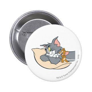 Tom and Jerry On Pillow 6 Cm Round Badge