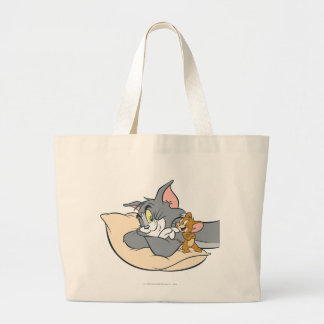 Tom and Jerry On Pillow Large Tote Bag