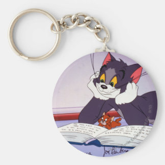 Tom And Jerry Reading Book Autographed Basic Round Button Key Ring