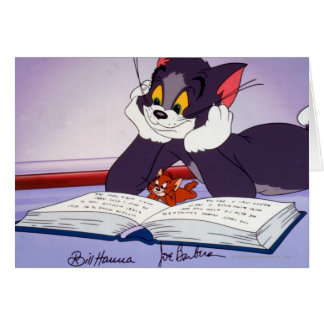 Tom And Jerry Reading Book Autographed Card