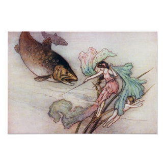 Tom and the Trout by Warwick Goble Poster