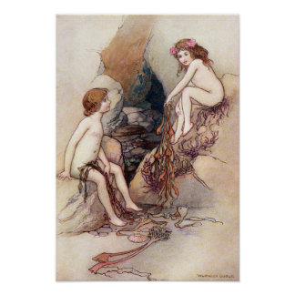 Tom Finds a Water Baby by Warwick Goble Poster