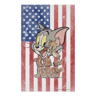 Tom & Jerry With US Flag Poster