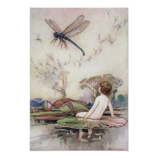 Tom Meets the Dragonfly by Warwick Goble Poster