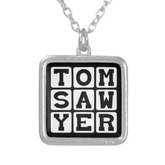 Tom Sawyer, Book By Mark Twain Square Pendant Necklace