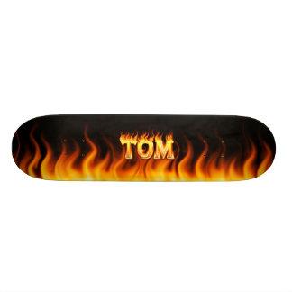 Tom skateboard fire and flames design