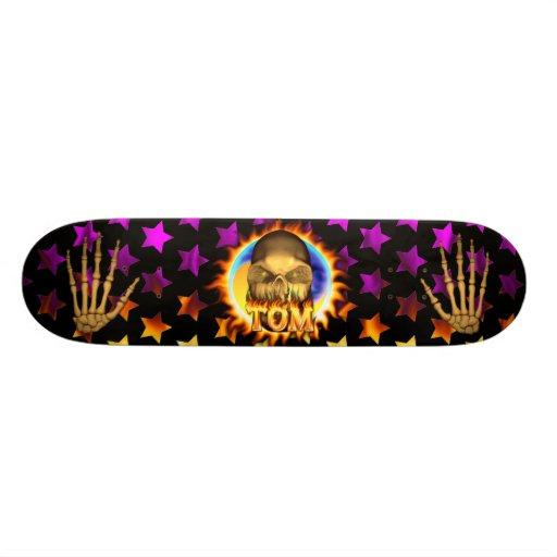 Tom skull real fire and flames skateboard design.