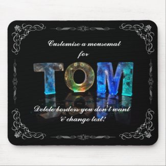 Tom - The Name Tom in 3D Lights (Photograph) Mousepads