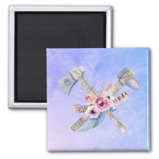 Tomahawk Feathers and Flowers Watercolor Design Square Magnet