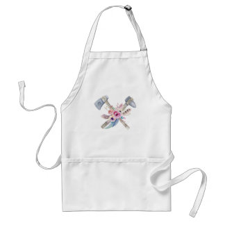 Tomahawk Feathers and Flowers Watercolor Design Standard Apron