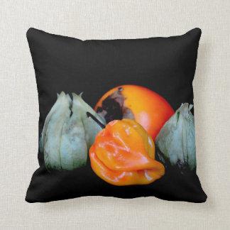tomatillo pepper persimmon fruit vegetable image throw pillow