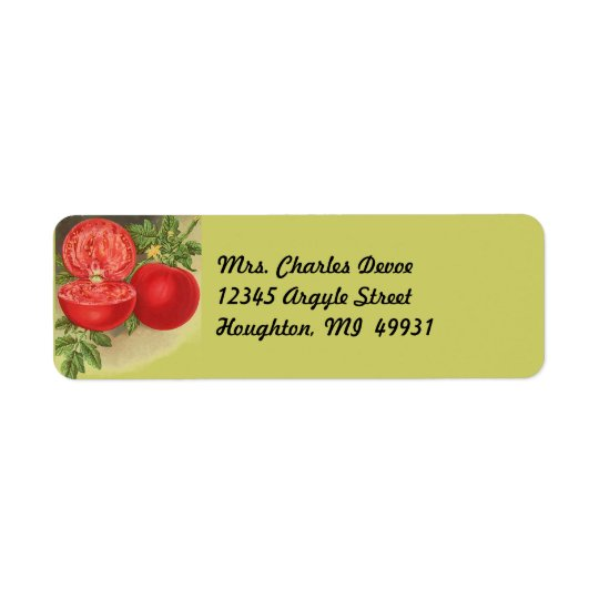 Tomato Gardening Ripe on Vine Return Address Label
