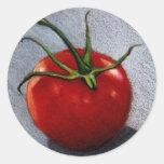 TOMATO IN COLOR PENCIL: ART ROUND STICKER