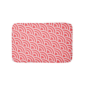 Tomato red and white deco bath mat