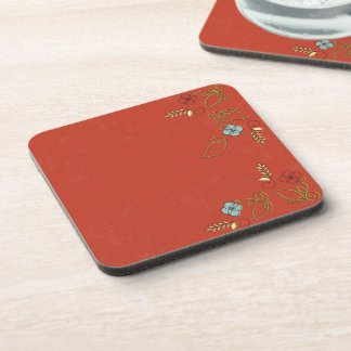 Tomato Red Coasters Set Flowers Hot Drink Cold