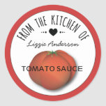 Tomato Red Modern From the Kitchen of Label Round Sticker