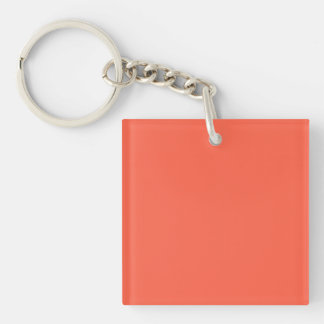 Tomato Red Solid Color Double-Sided Square Acrylic Key Ring