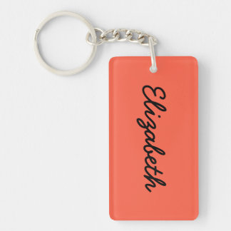 Tomato Red Solid Color Double-Sided Rectangular Acrylic Key Ring