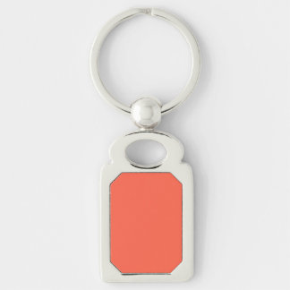 Tomato Red Solid Color Silver-Colored Rectangle Key Ring