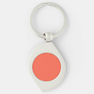 Tomato Red Solid Color Silver-Colored Swirl Key Ring