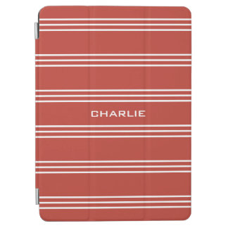 Tomato Red Stripes custom monogram device covers iPad Air Cover