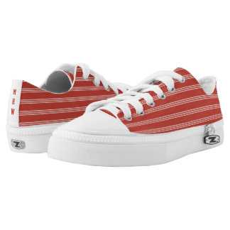 Tomato Red Stripes custom monogram low top shoes Printed Shoes