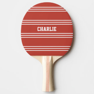 Tomato Red Stripes custom monogram paddle